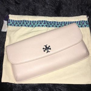 NWT TORYBURCH pink nude envelope clutch